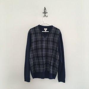 Dockers Blue Plaid V-Neck Sweater